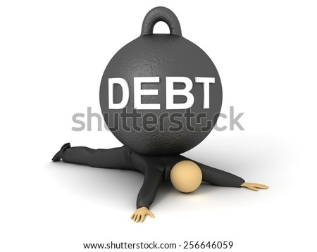 3D image of businessman get splashed by the heavy debt.