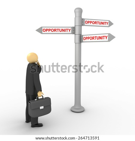 3D image of businessman with opportunity direction on white. - stock photo