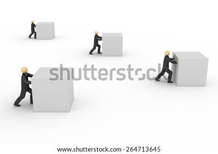 3D image of businessmen working hard on white background. - stock photo