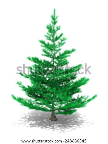 3D image of christmas tree on white background.