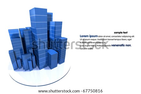 3D image of city - stock photo