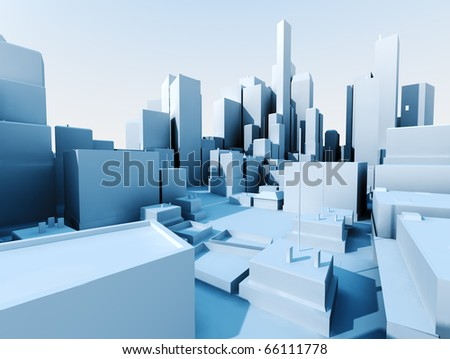 3D image of city landscape with skyscraper - stock photo