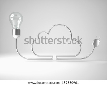 3d image of classic bulb and silver wire cloud - stock photo