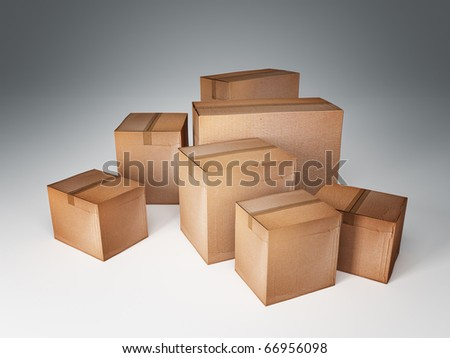 3d image of classic cardboard box - stock photo