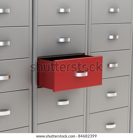 3d image of classic file cabinet - stock photo