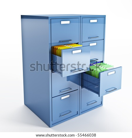 3d image of classic file cabinet on white