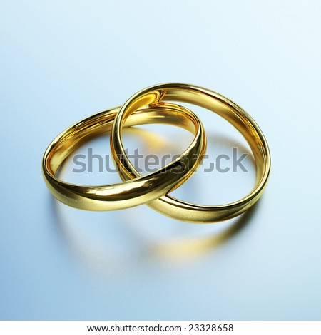 3d image of classic gold rings background - stock photo