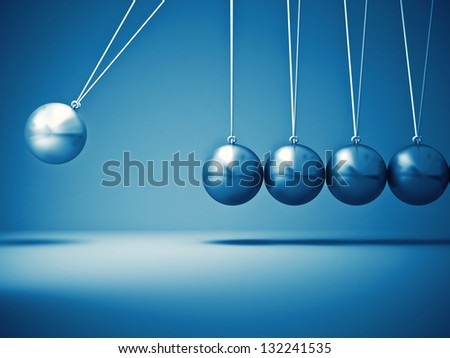 3d image of classic newton cradle - stock photo