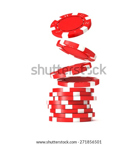 3d image of classic poker chips and green table - stock photo