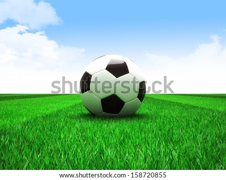 3d image of classic soccer field with ball