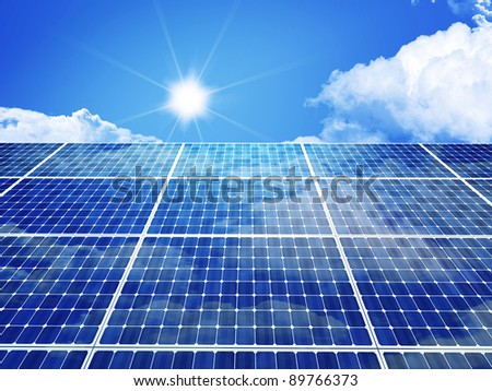 3d image of classic solar panel - stock photo