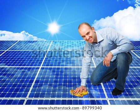 3d image of classic solar panel and smiling cleaner - stock photo