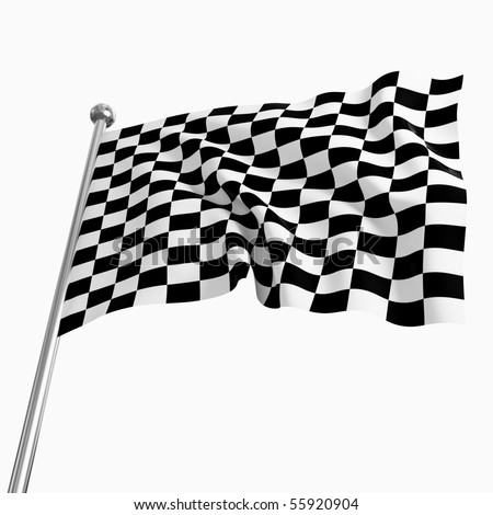 3d image of classic start flag on white background - stock photo