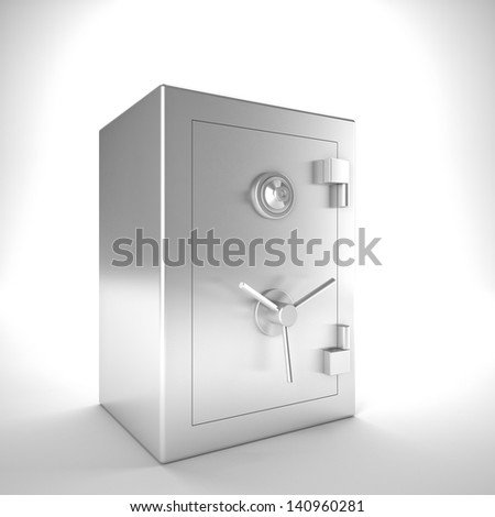 3d image of classic steel safe - stock photo