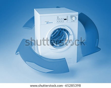 3d image of classic washing machine and arrows