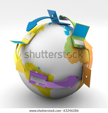 3d Image Of Colored Connecting Laptop All Around The World - stock photo
