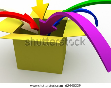 3d image of colorful arrows jumping into the box - stock photo