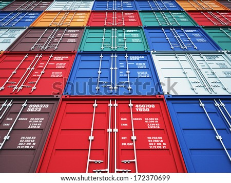 3d image of colorful container - stock photo