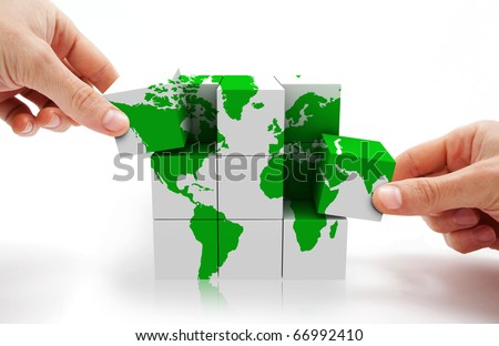 3d image of conceptual cube world map - stock photo
