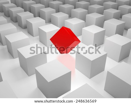 3D image of cube standing out of the crowd. - stock photo