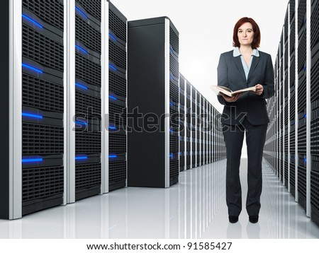 3d image of datacenter with lots of server and female worker - stock photo
