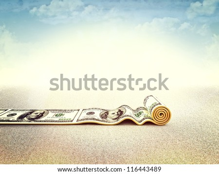 3d image of dollar rolling carpet - stock photo