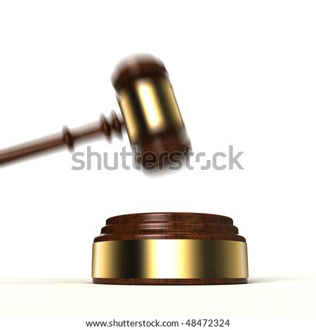 3D image of gavel about to hit the sound block over white background - stock photo