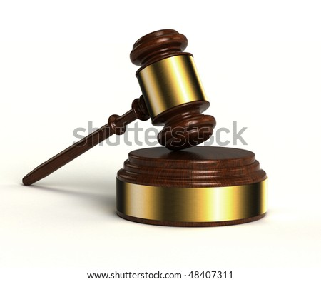 3D image of gavel with sound block over white background - stock photo