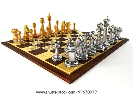 3d image of gold and silver chess piece on wooden chess board