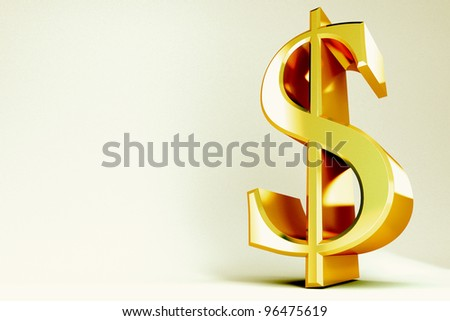 3d image of golden dollar symbol against abstract background - stock photo