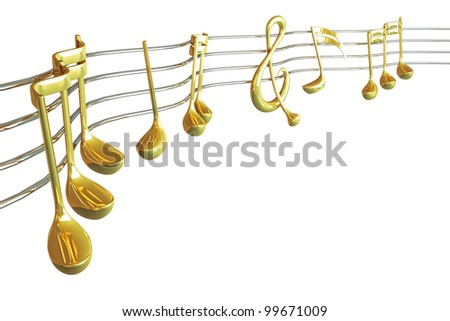 3d image of golden music note on musical string - stock photo