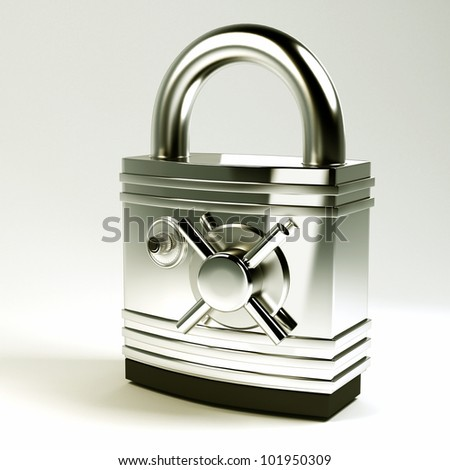 3d image of hi tech pad lock with Safe Lock - stock photo
