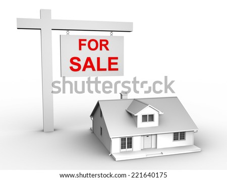 3D image of house for sale - stock photo