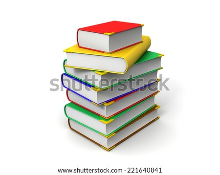 3D image of isolated books. - stock photo
