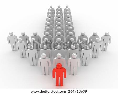 3D image of leader and crowd of man on white background.