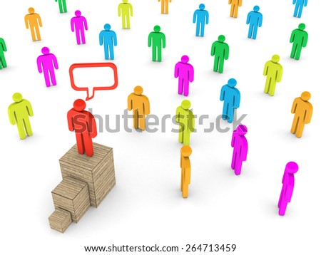 3D image of leader talking to a crowd on white background.