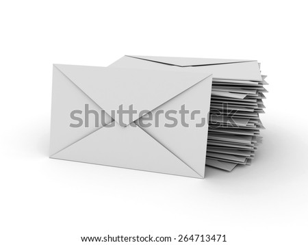3D image of letter stack on white background. - stock photo