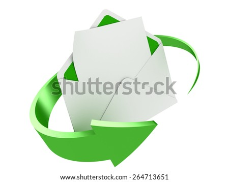 3D image of letter with arrow on white background.