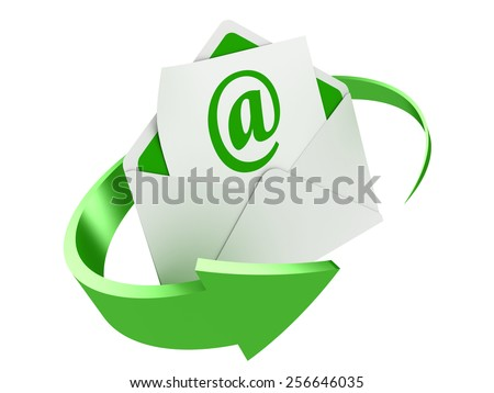 3D image of letter with e-mail sing and arrow around. - stock photo