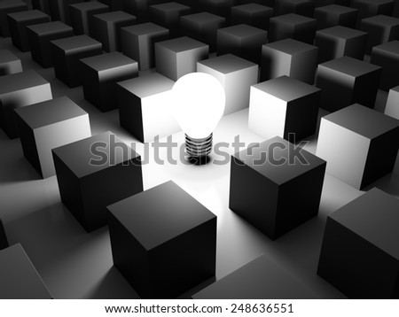 3D image of light bulb and boxes, representing a new idea.