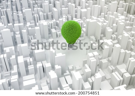 3d image of light bulb made of grass and city, green energy concept - stock photo