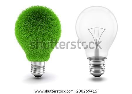 3d image of light bulb, sustainable energy concept  - stock photo