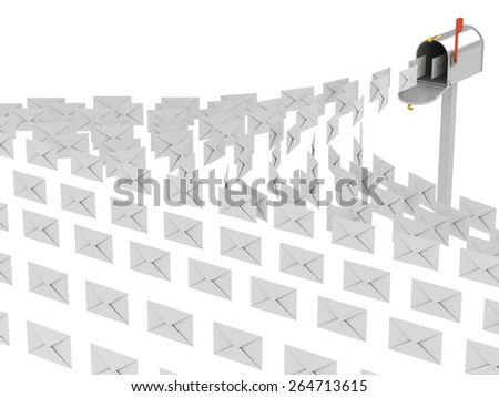 3d image of mailbox and letters on white background. - stock photo