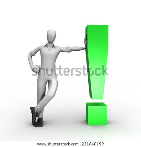 3D image of man and answer - stock photo