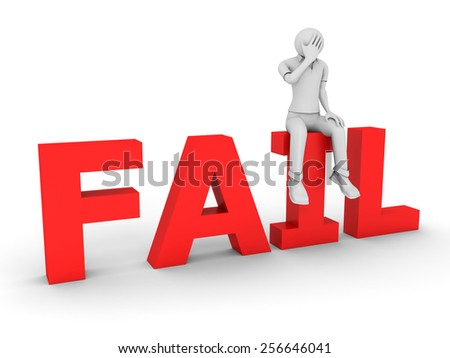 3D image of man and fail sing, isolated on white - stock photo