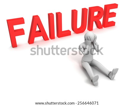 3D image of man and failure sign, isolated on white. - stock photo
