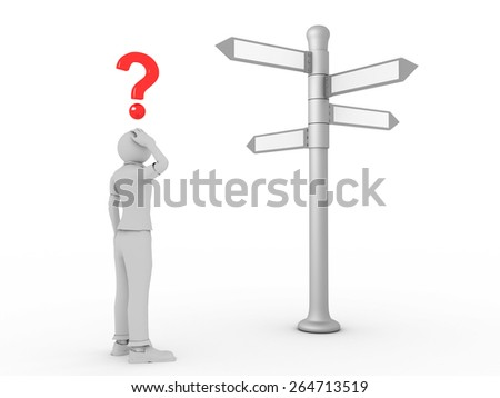 3D image of man choosing right path on white background