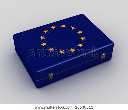 3d image of metal europe color case background