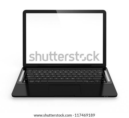 3D image of modern black laptop isolated on white background
