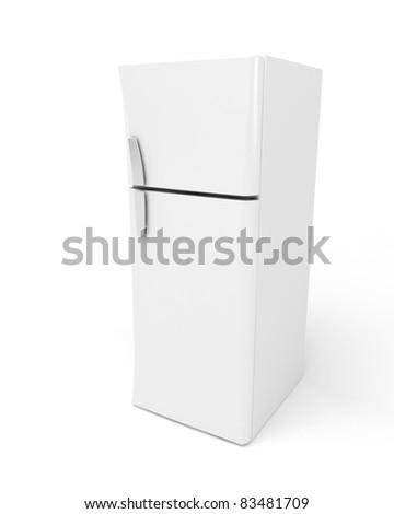3d image of modern fridge on white background - stock photo